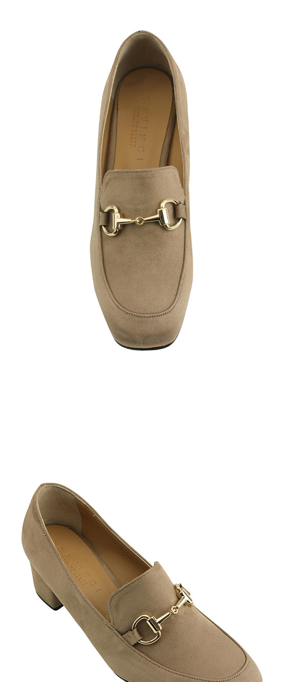 Gold chain suede loafers beige