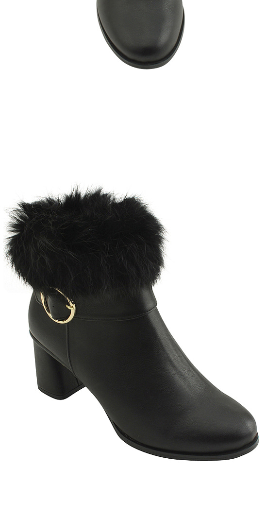 Rabbit Fur Embellished Middle Heel Ankle Boots