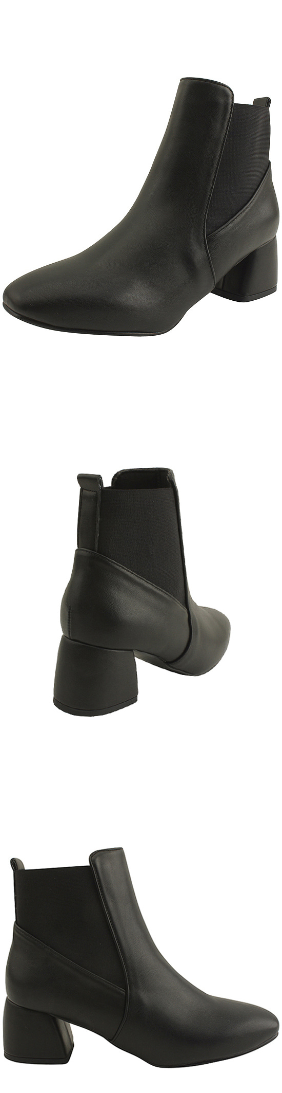 Banding Chelsea Ankle Boots Full Heel Middle Hill