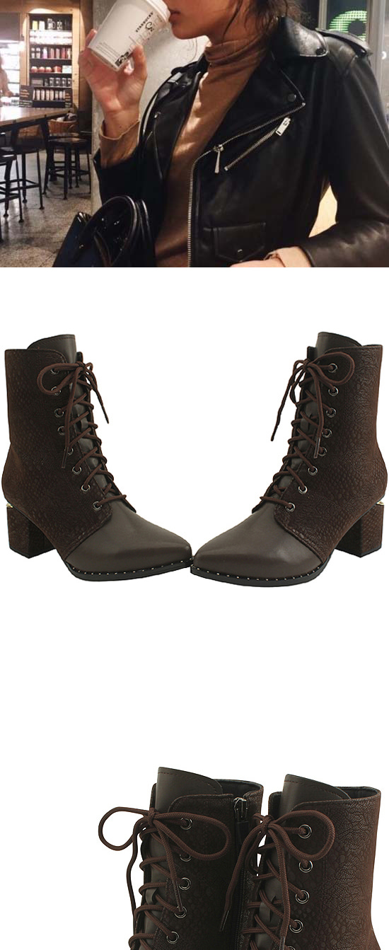 Python lace-up middle boots brown