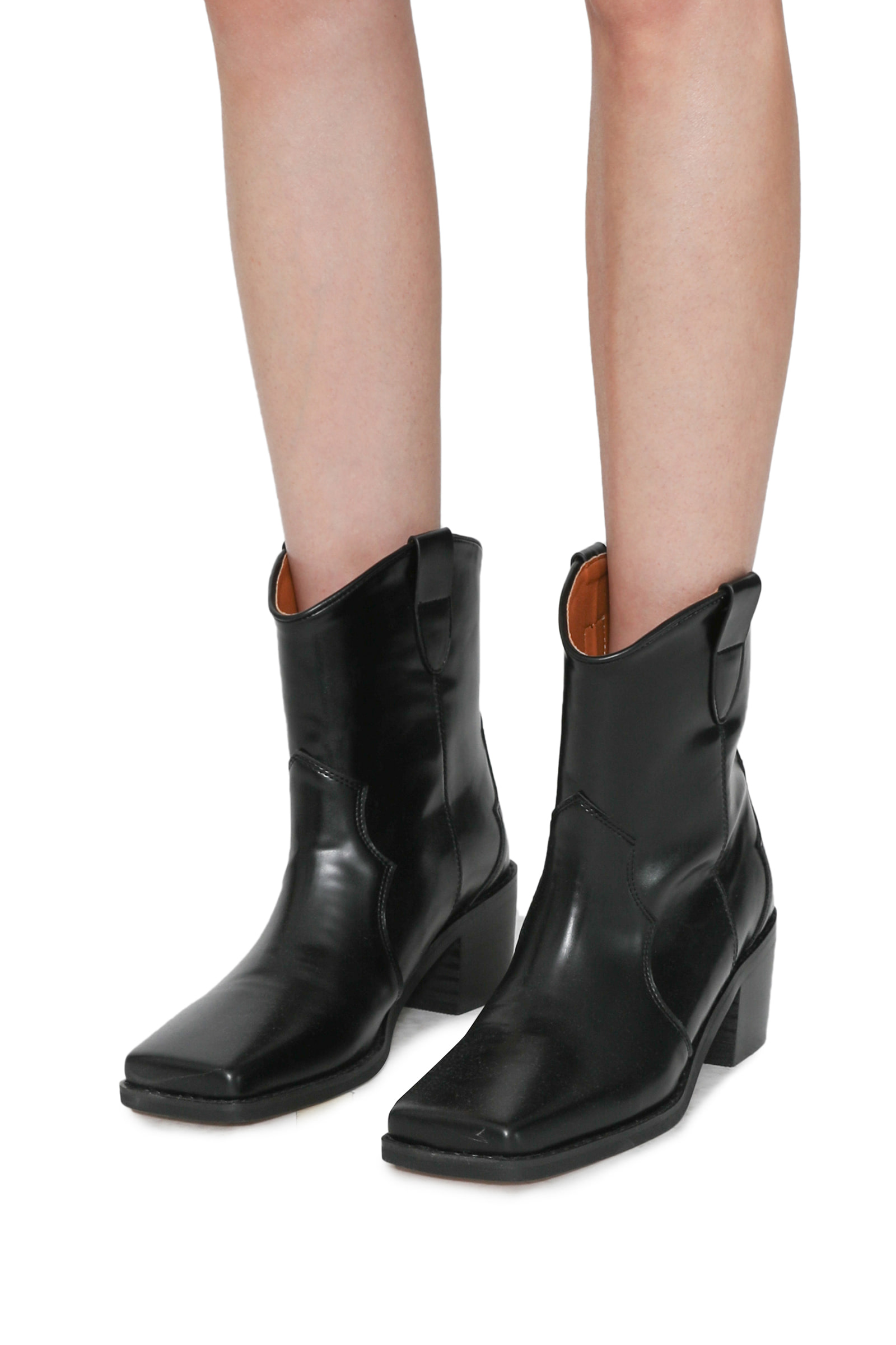 Fuzzy western ankle boots