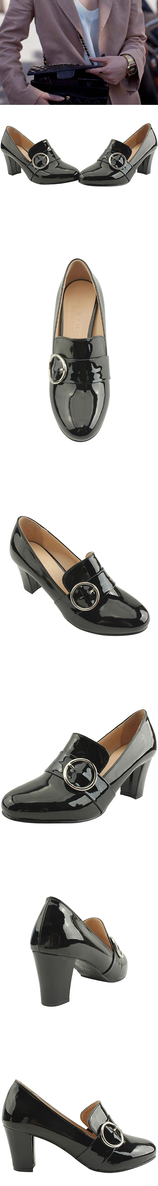 Ring buckle enamel high heel shoes black