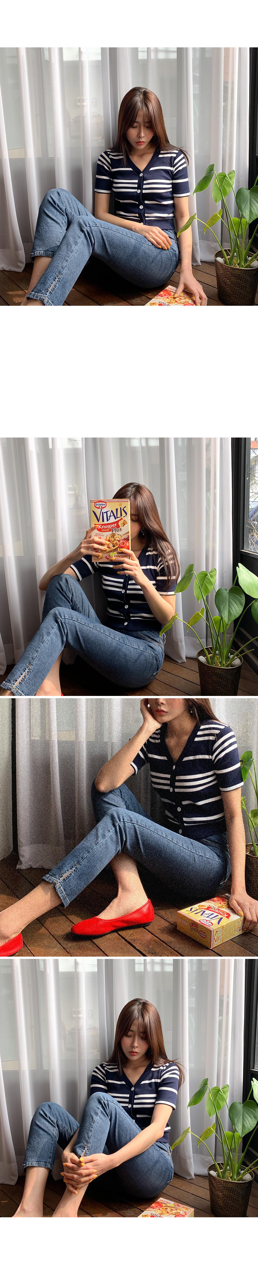 Soda Striped crop cardigan