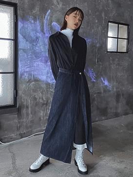Denim high wrap skirt