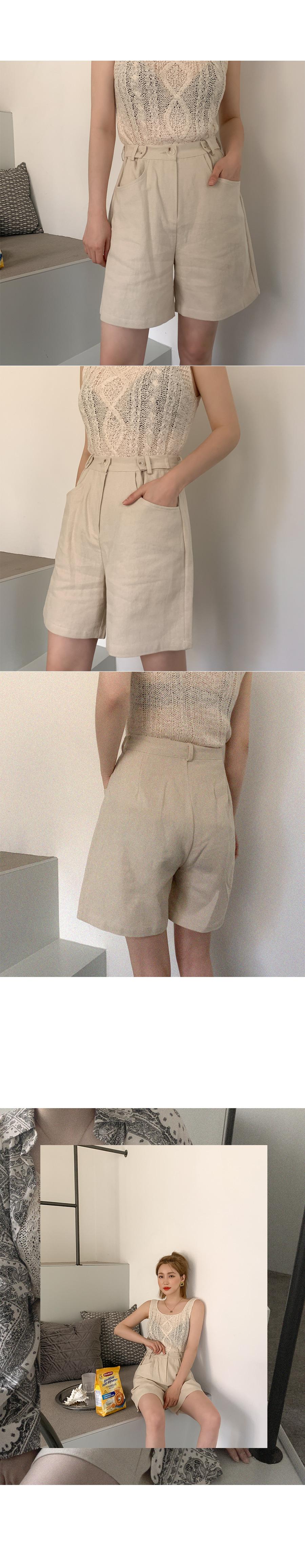 Motion linen button short pants
