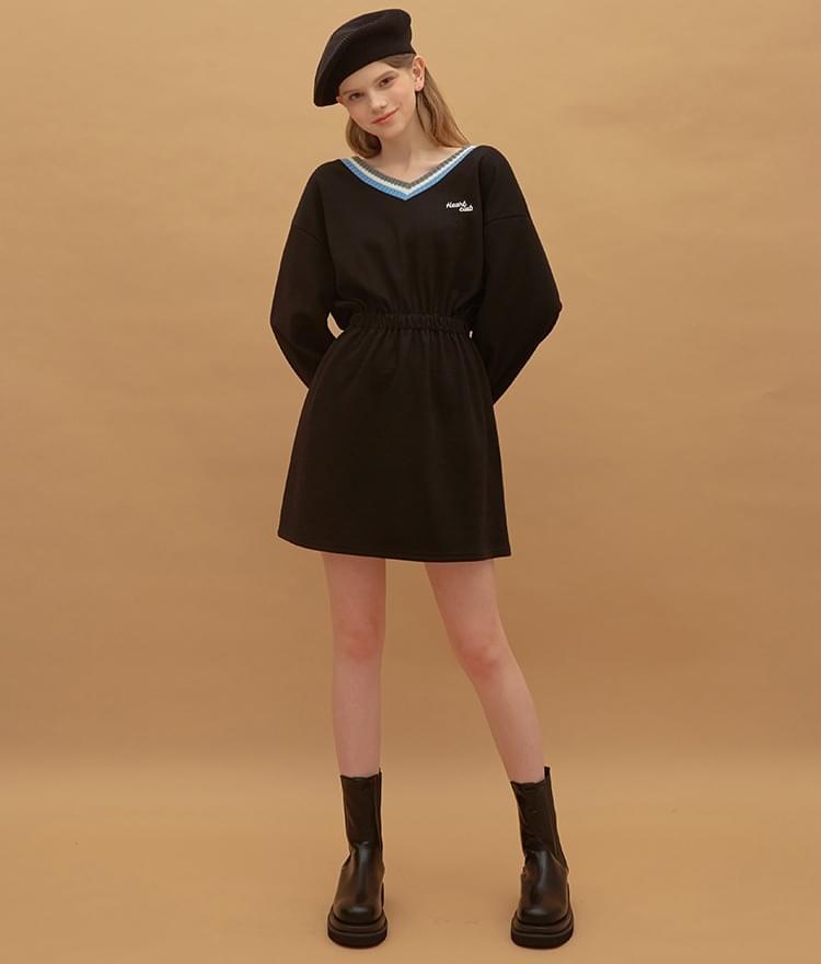 HEART CLUBElastic Waist V-Neck Black Dress