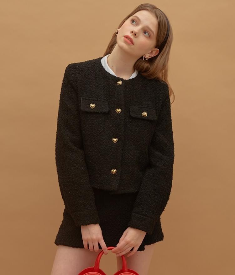 Heart Tweed Jacket Heart Tweed Skirt (Black)SET