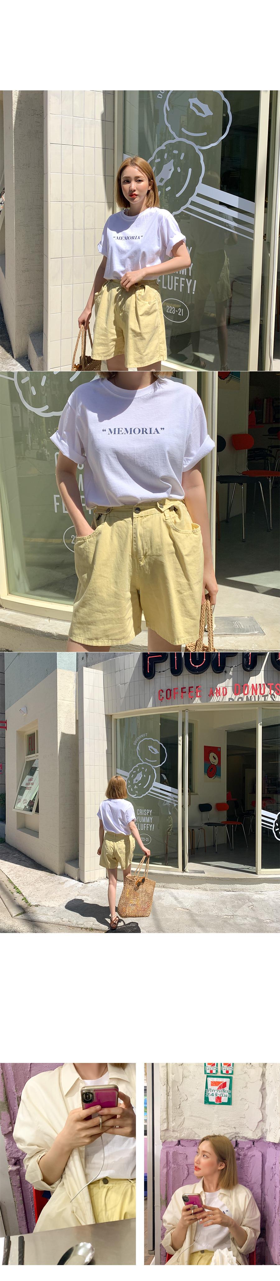 Ice color button short pants