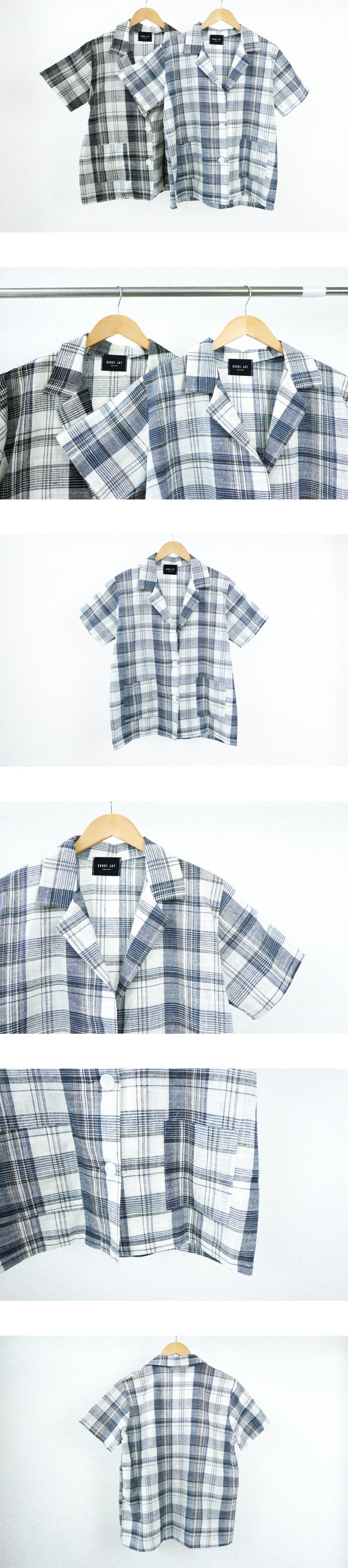 Cool linen check short sleeve jacket
