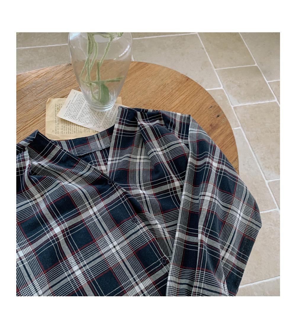 Vintage Check V Neck Shirt Dress