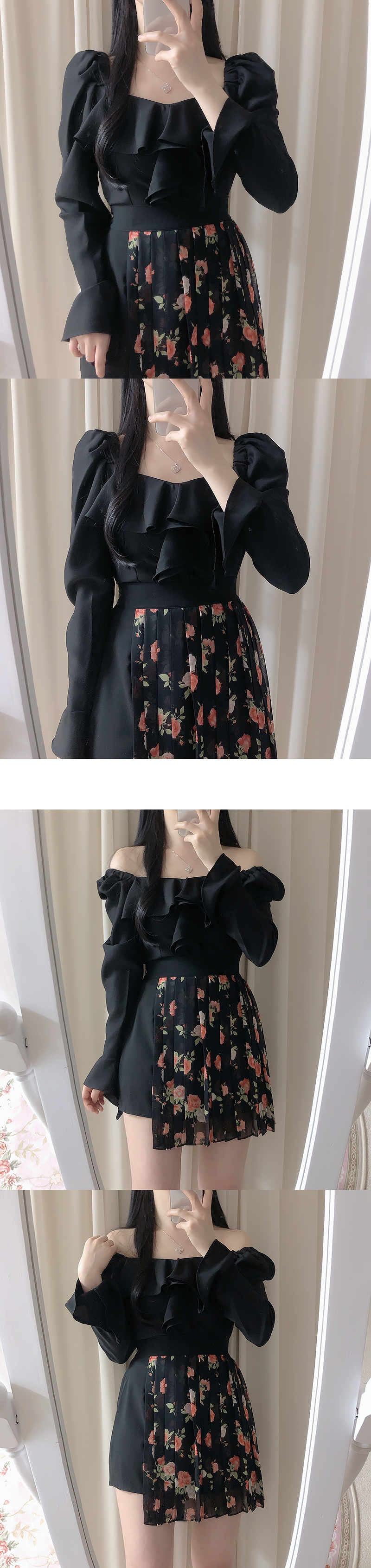 Mellow floral pleated skirt