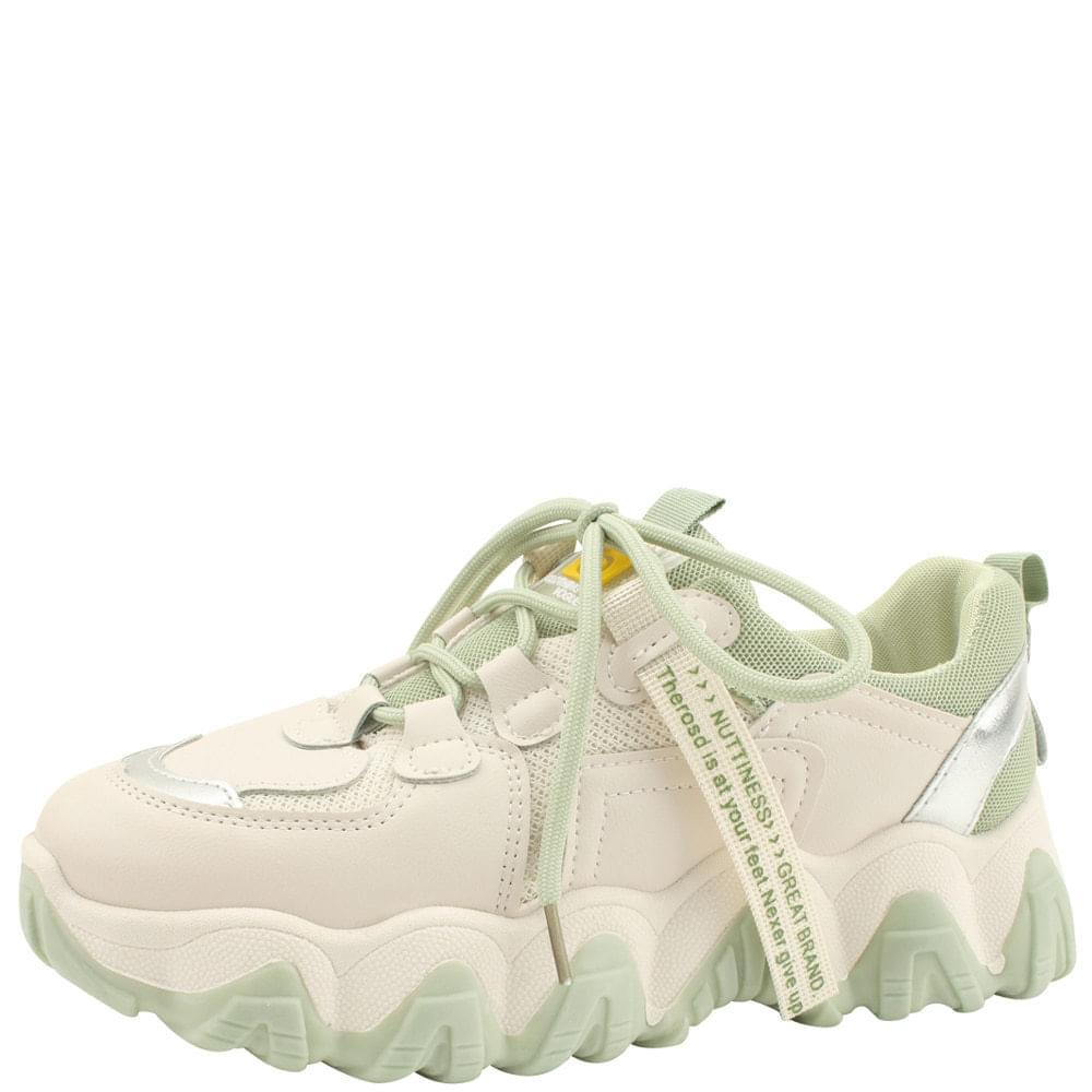 Mesh two-tone platform sneakers green