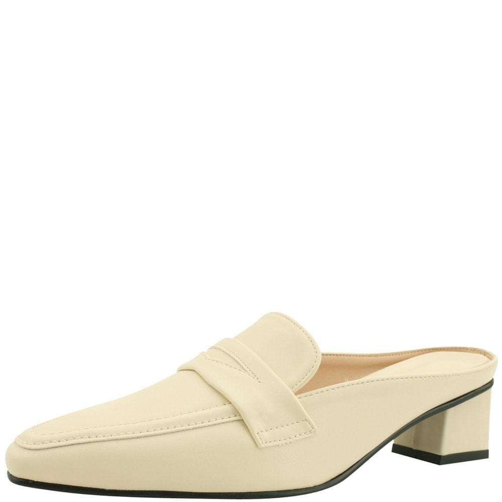 韓國空運 - Classic Middle Heel Mule Blower Beige 樂福鞋