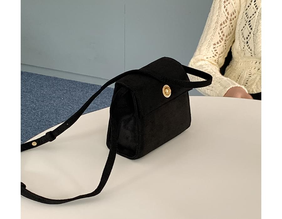 Suede square crossbody bag