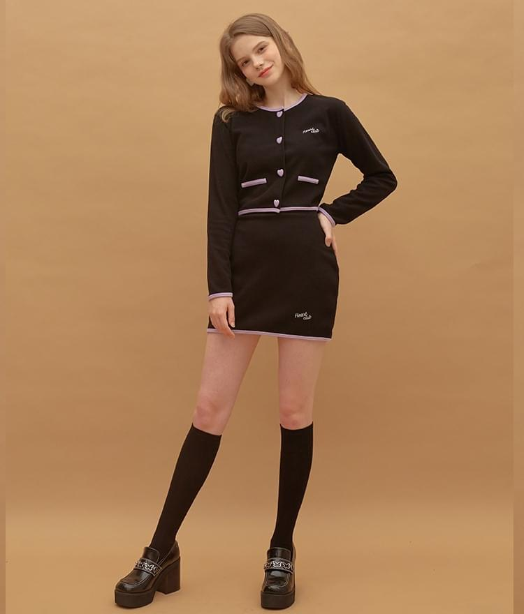 Heart Coloration Button Top Heart Coloration Band Skirt (Black)SET 套裝