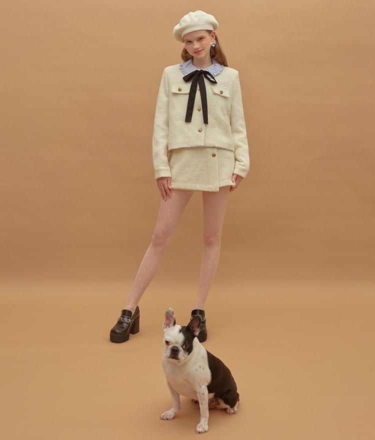 Heart Tweed Jacket Heart Tweed Skirt (Ivory)SET