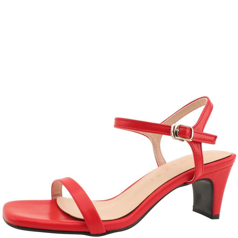 韓國空運 - Square Toe Strap Middle Heel Sandals Red 涼鞋
