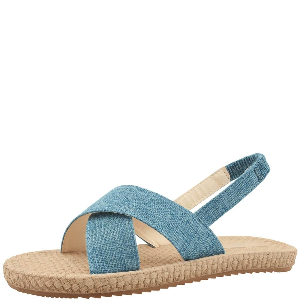 韓國空運 - Linen Cross Sling Bag Flat Sandal Blue 涼鞋
