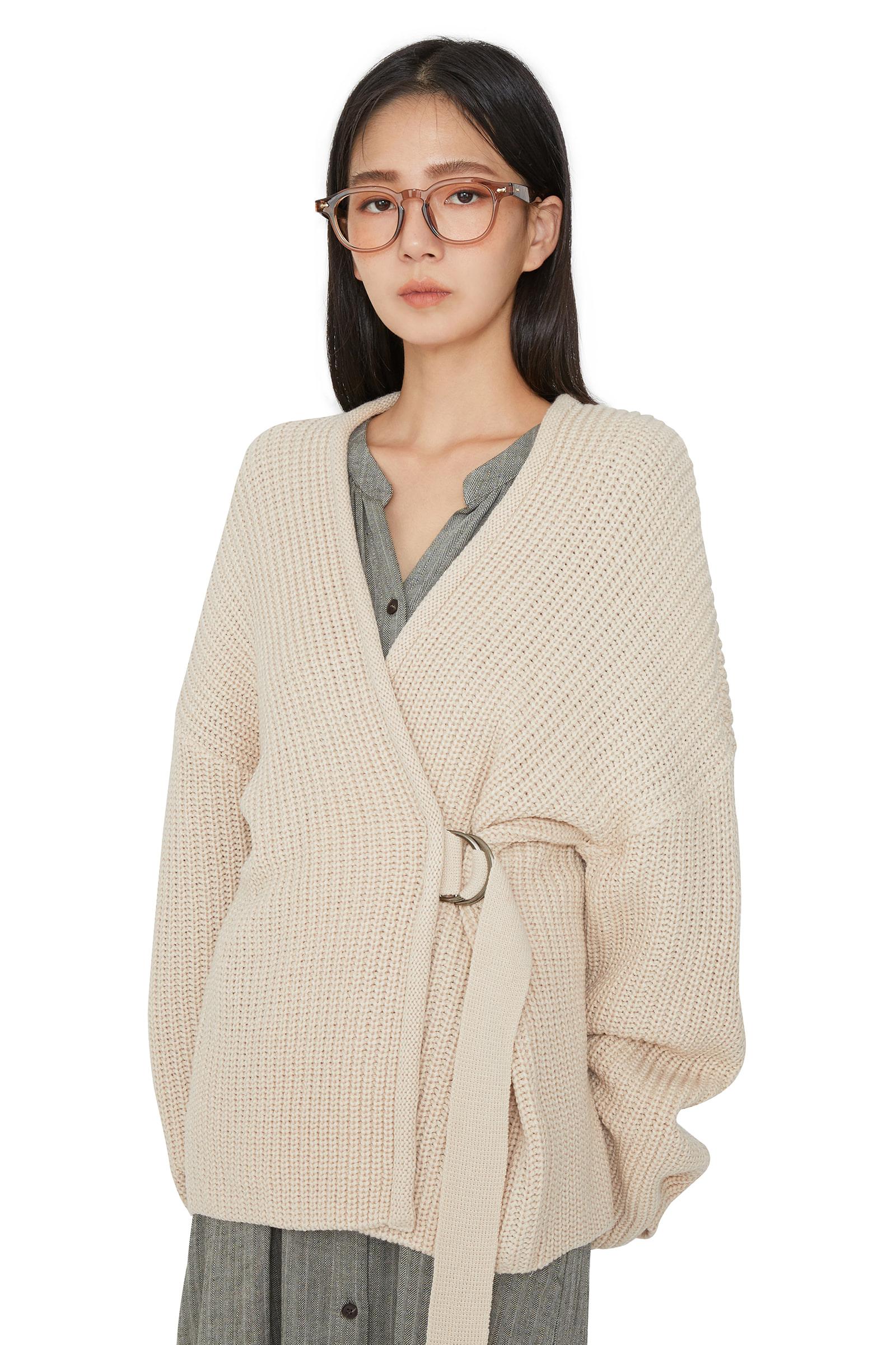 Heidi buckle-over knit cardigan