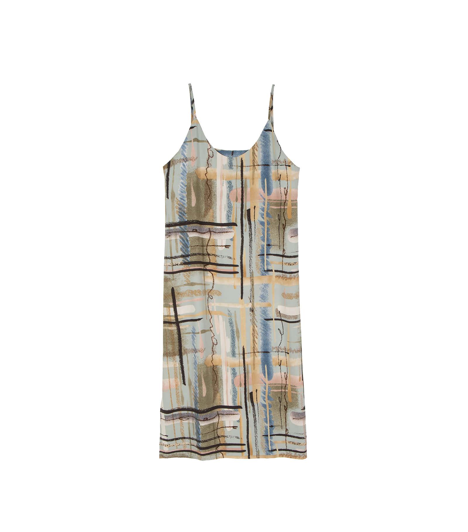 Moss pattern sleeveless maxi dress