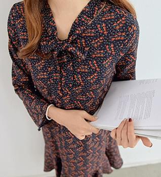 韓國空運 - Boen Hem Frill Pattern Long Dress #34821 長洋裝