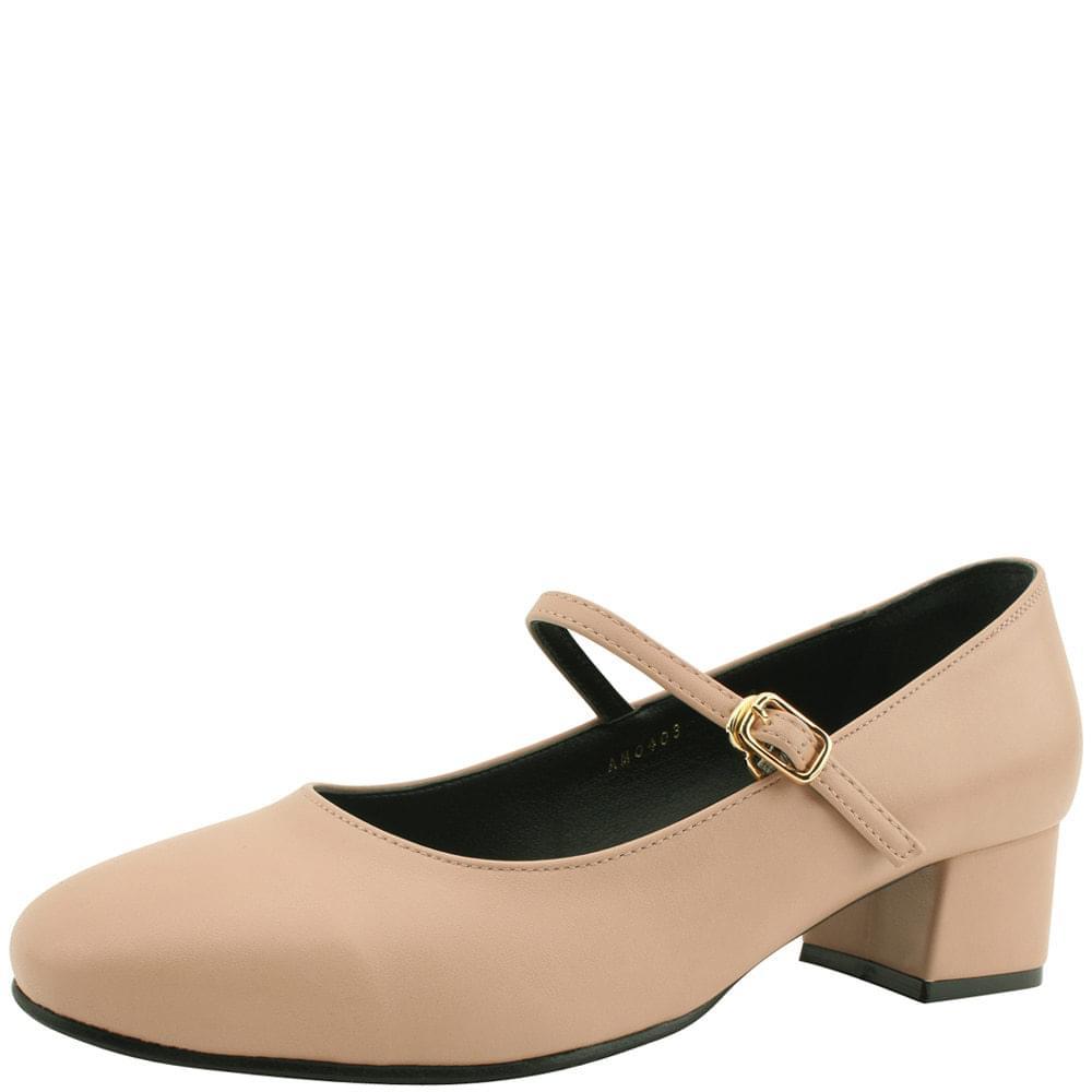 韓國空運 - Mary Jane Comfort Middleheel Shoes Pink 跟鞋