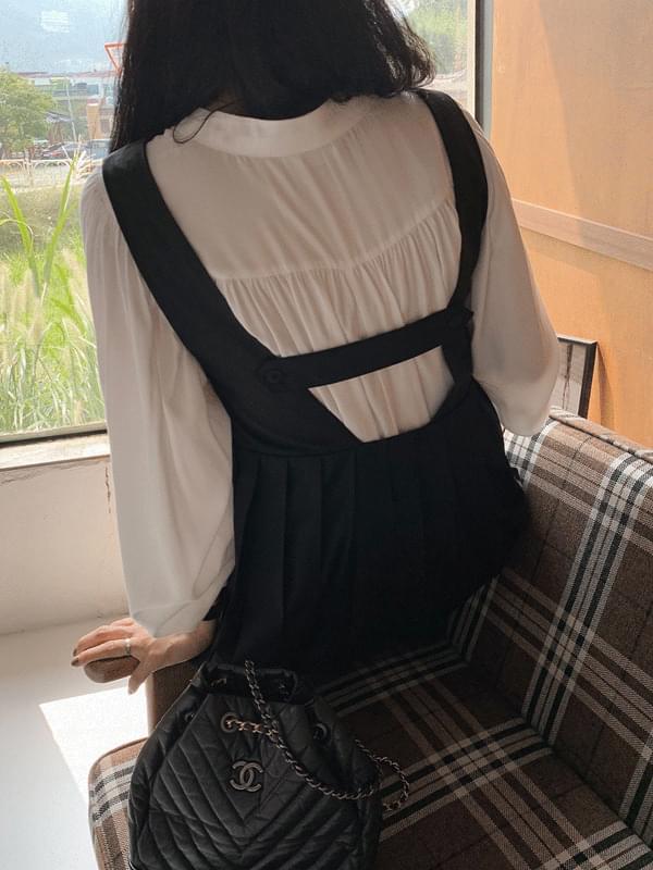 Shirring V-neck Silky Blouse blouses
