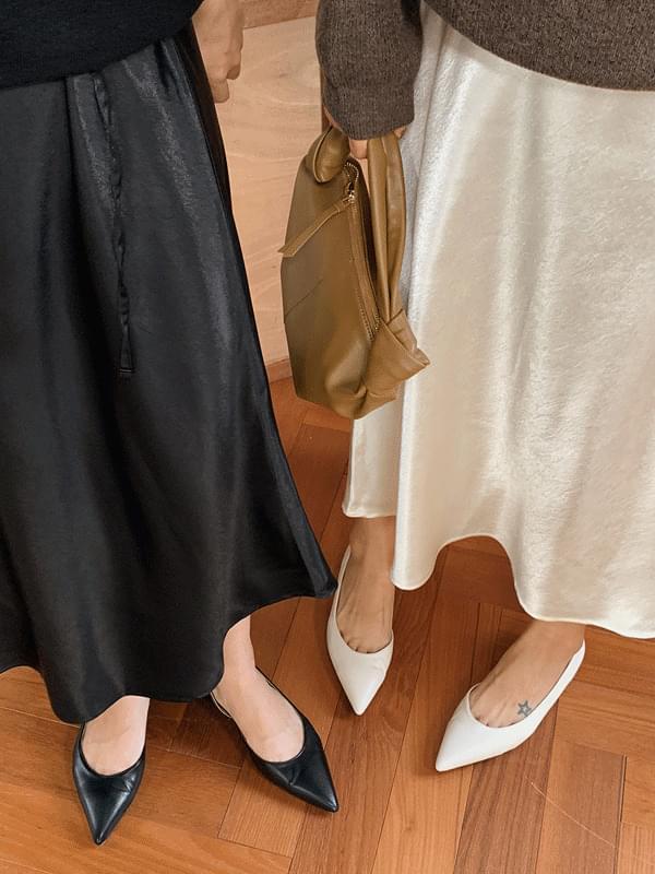 Glossy String Silky Skirt
