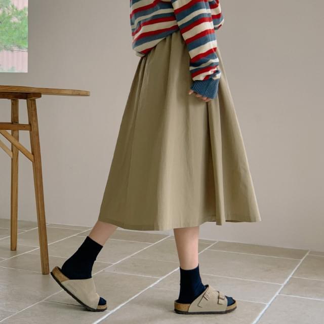 Easy Cotton Flare Banding Long Skirt
