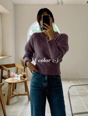 Wide Shibori Color Point Volume Knit