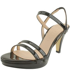 韓國空運 - Enamel Slim Strap High Heel Sandals Black 涼鞋