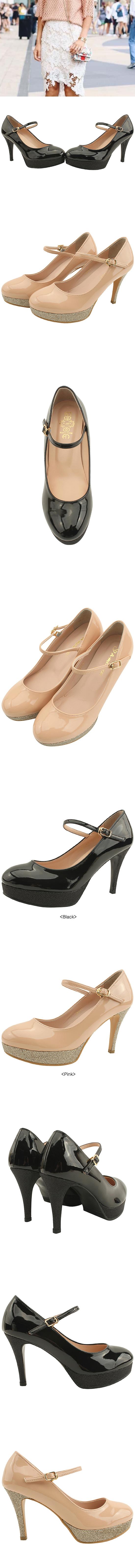 Pearl Heirloom Strap Enamel High Heels Black