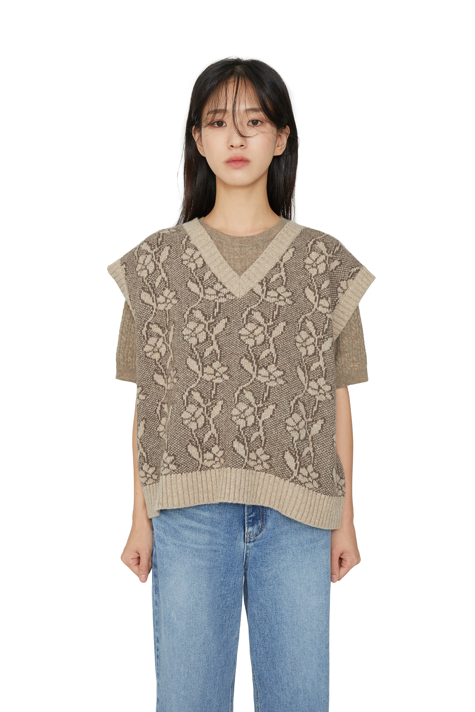 Flower pattern V-neck knit vest