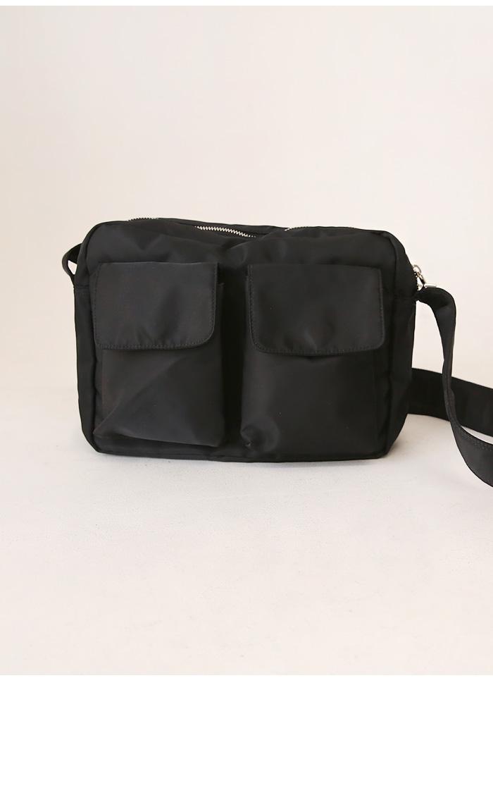拉链包口外置口袋纯色单肩包