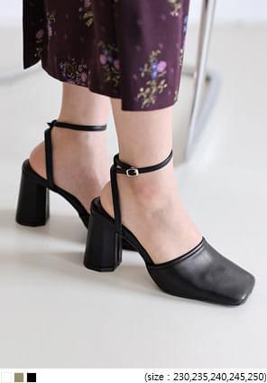 造型粗高跟釦帶方頭皮鞋