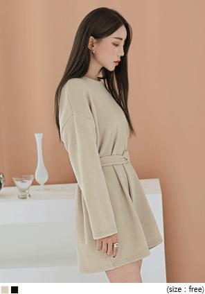 落肩袖純色羅紋短洋裝(附腰帶)