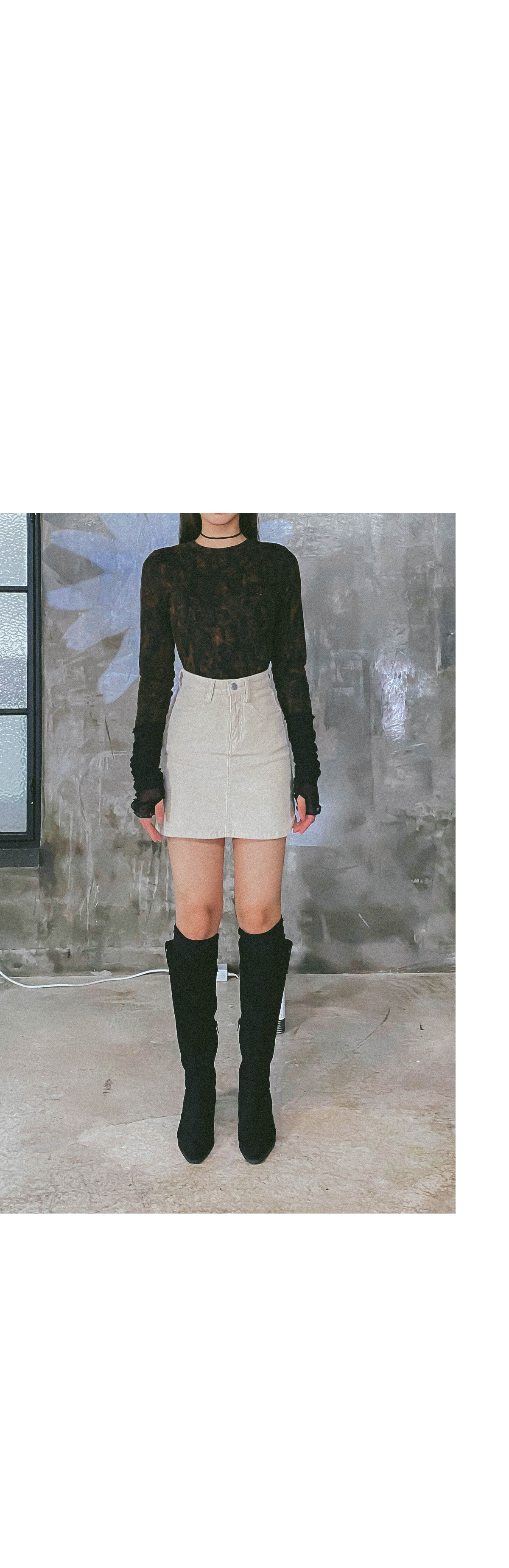 Corduroy derrin mini skirt