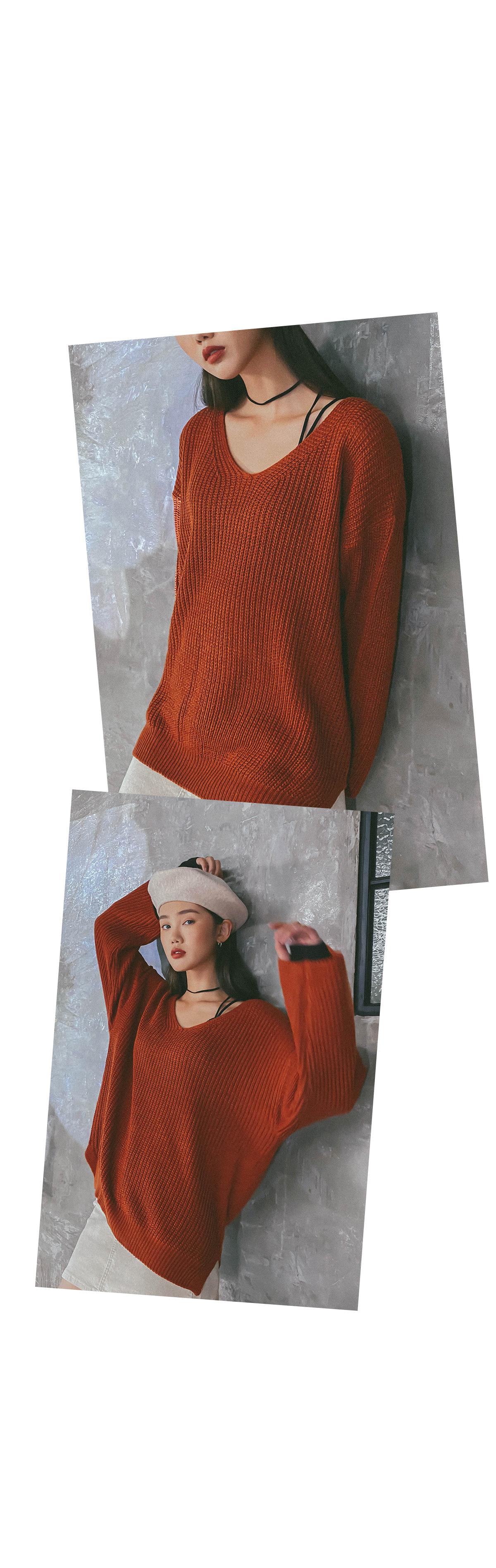 V-neck poning knit