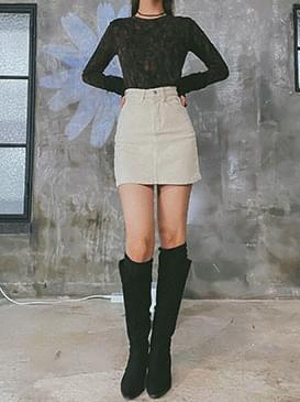 Corduroy derrin mini skirt