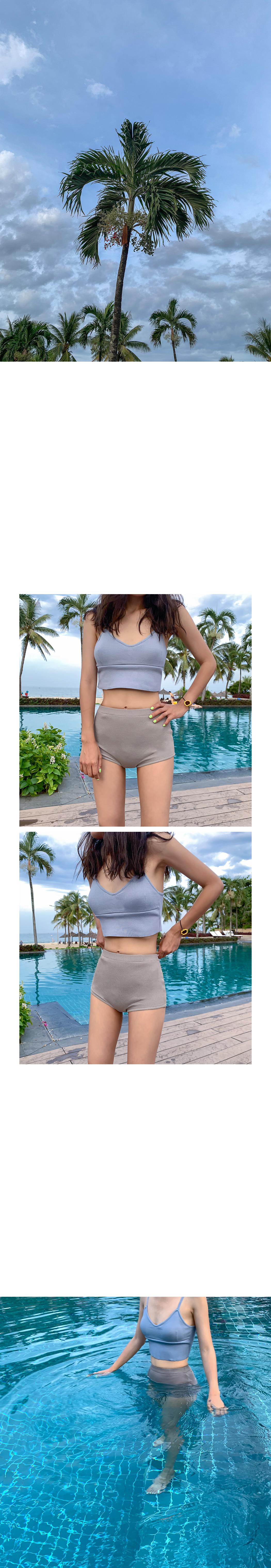 City pop color knit bikini