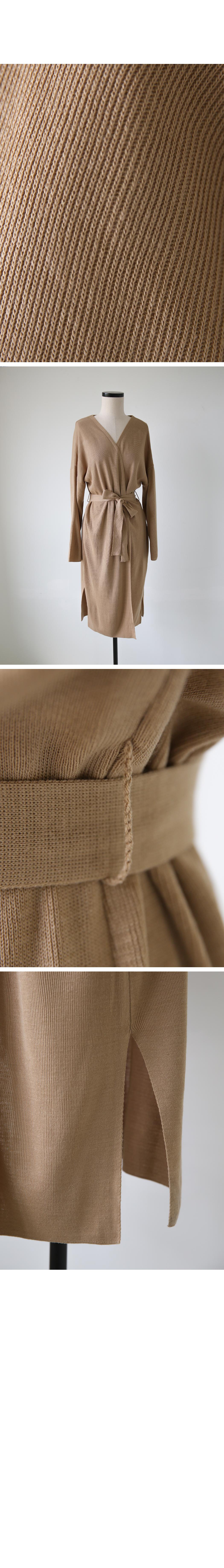 Mood belt slit long cardigan