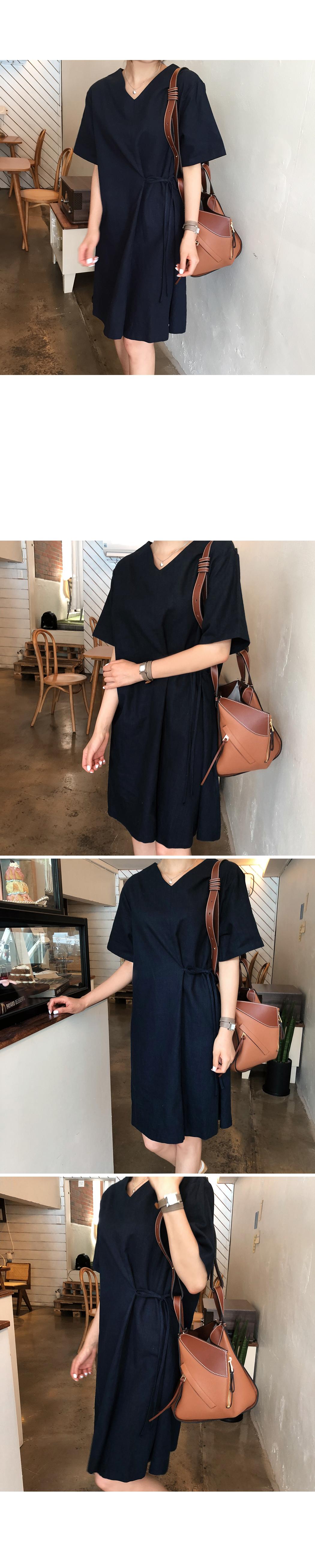 Side strap linen dress
