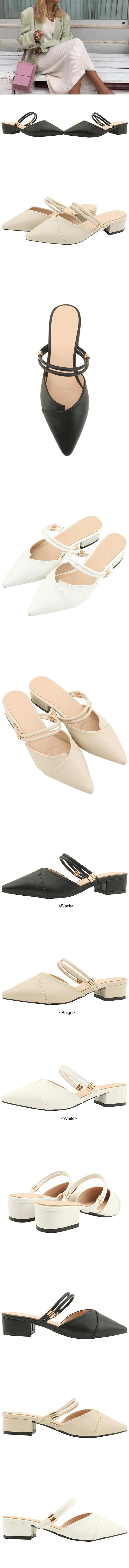 Stiletto Mary Jane Mule Low Heel White