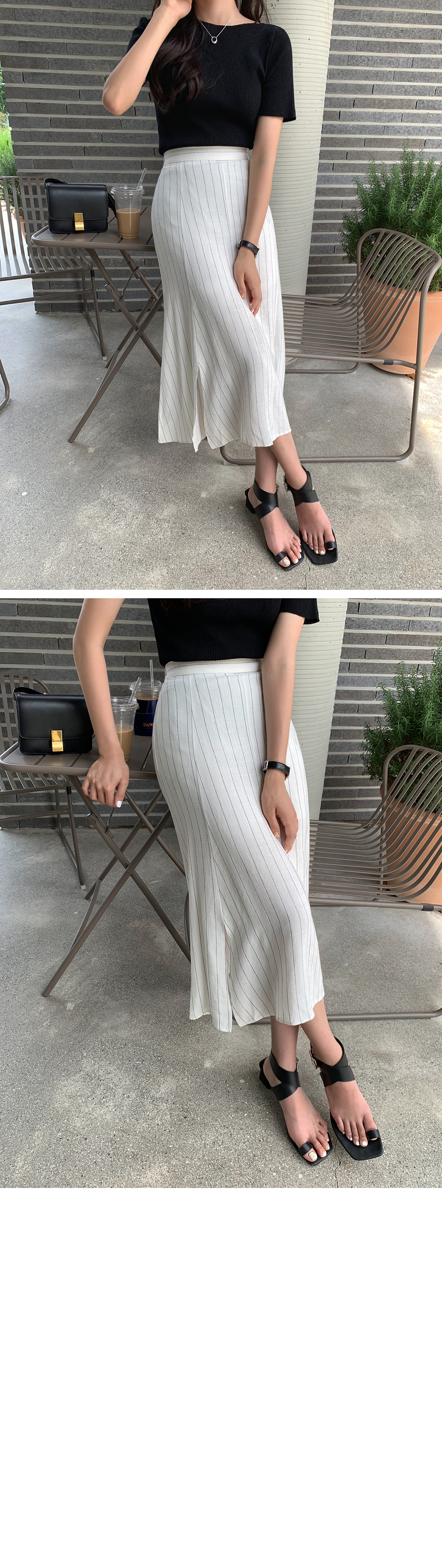 Char-linen striped skirt