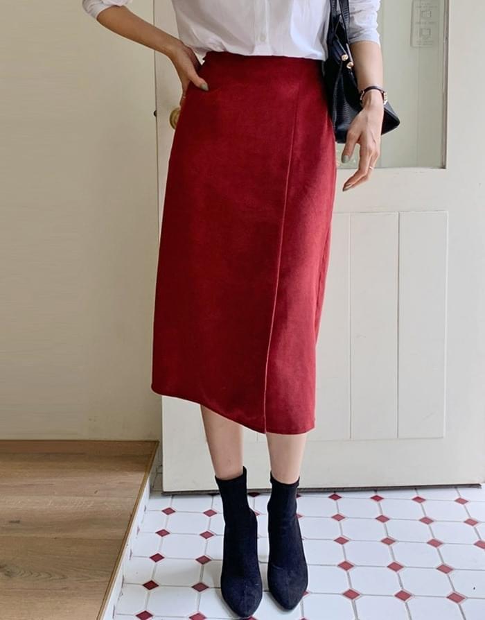 Lian Suede Slit Long Skirt
