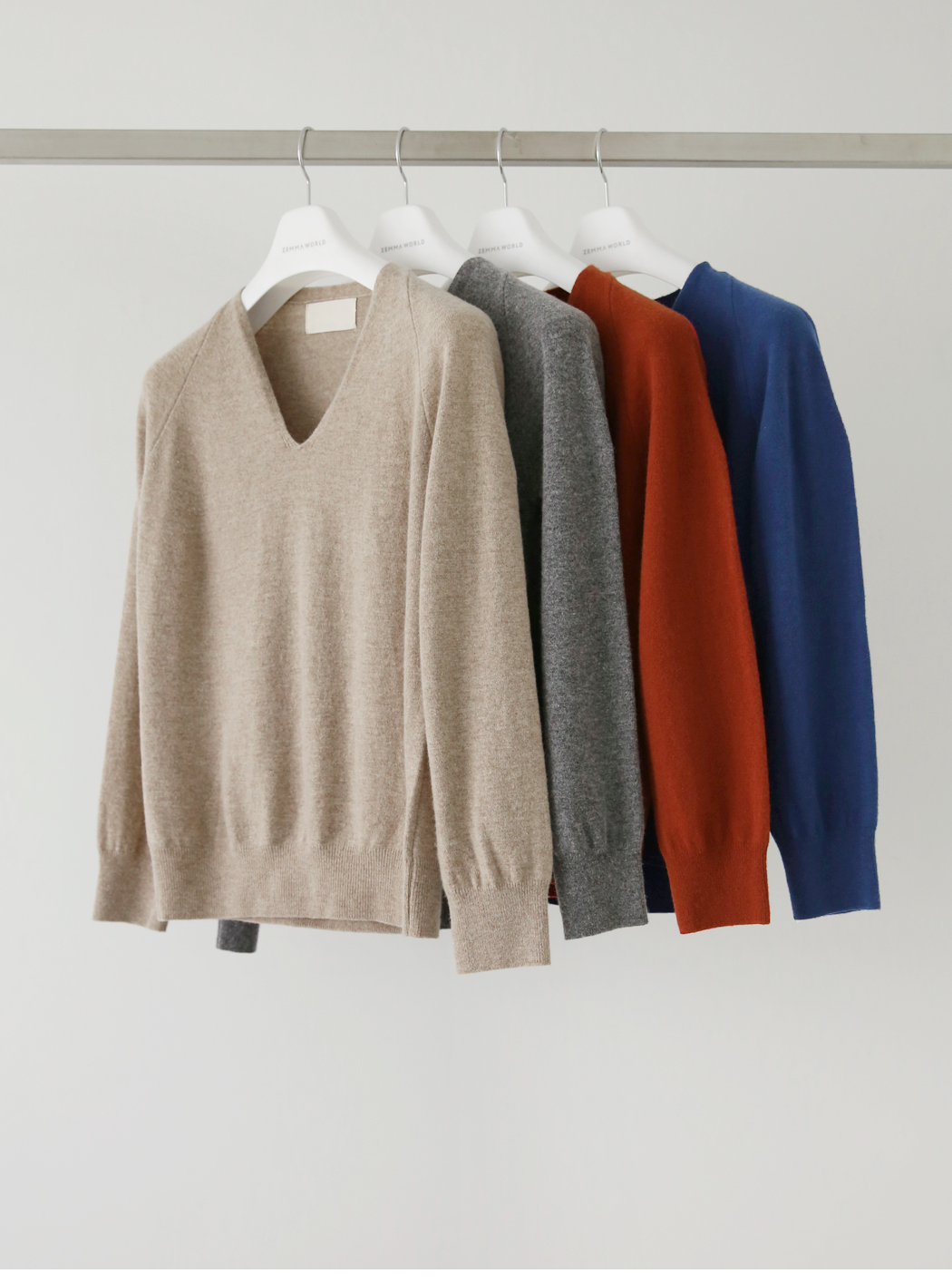 Soft Wool Raglan V Neck Knit