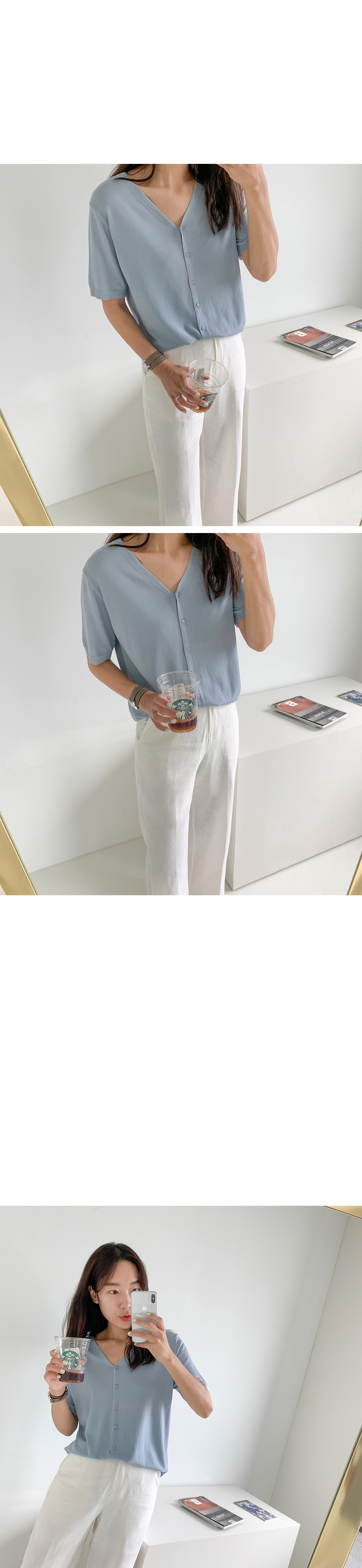 《Planned Products》Cool V-neck Cool Short Sleeve Knit