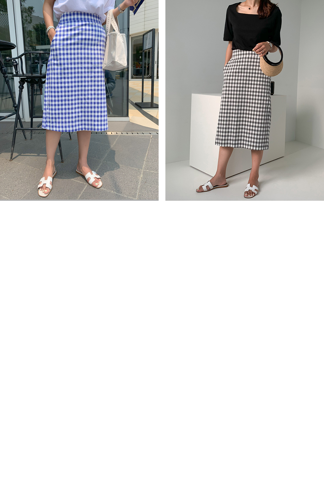 쫀쫀 check skirt