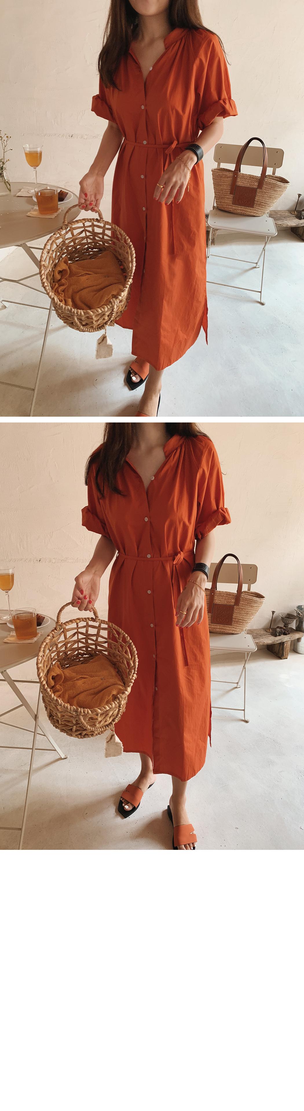 Vegetable Shirring Shirt Dress