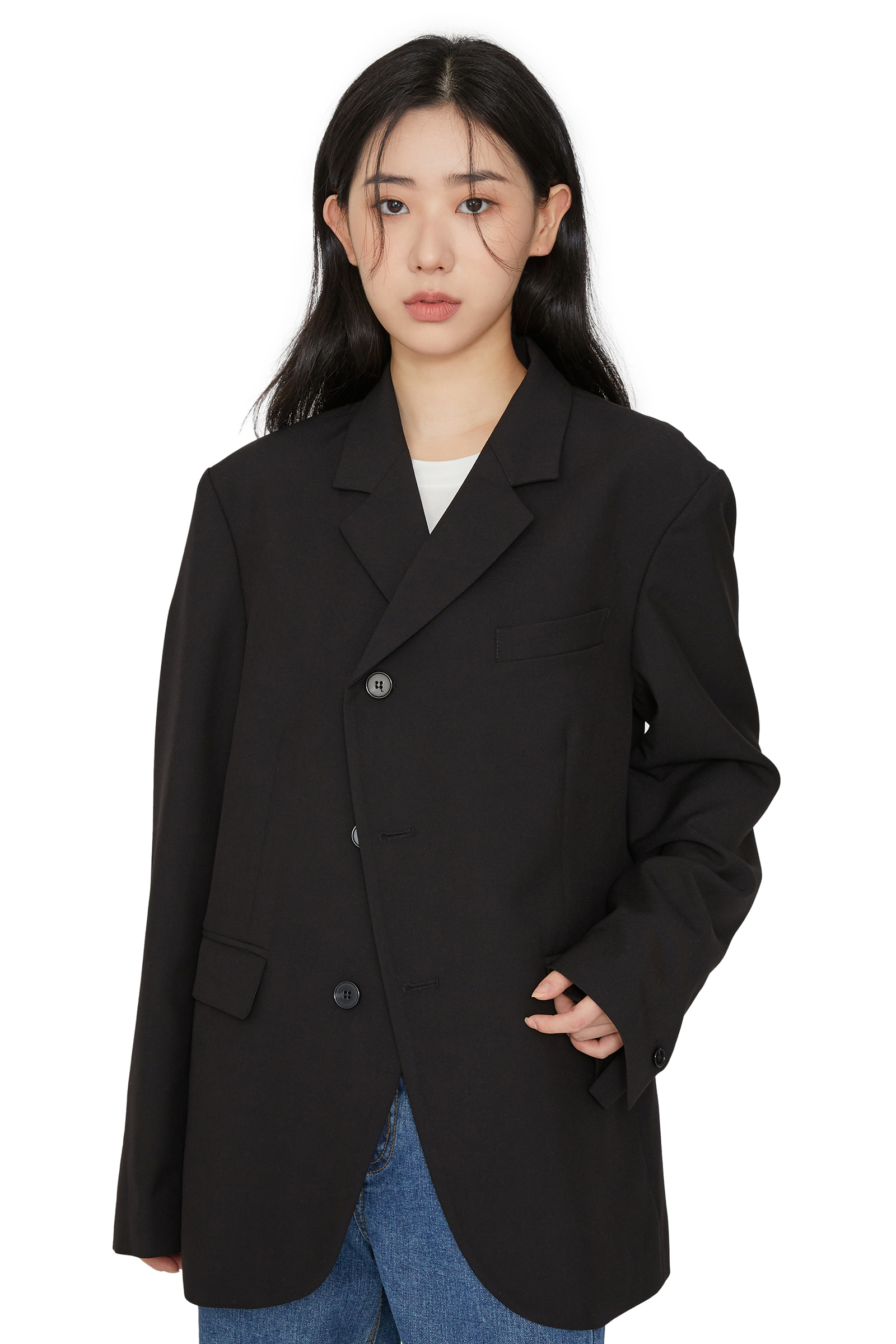 Unisex slash button blazer
